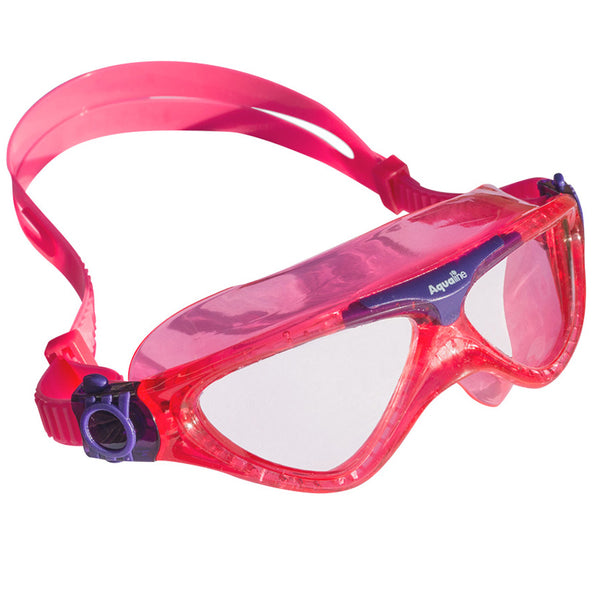 Aqualine Tri-Kidz Childrens Swimming Mask with Pink Strap and frame, with highlights of purple