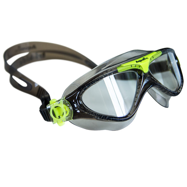 Aqualine Tri-Kidz Childrens Swimming Mask with Black Strap and frame, with highlights of Neon Green