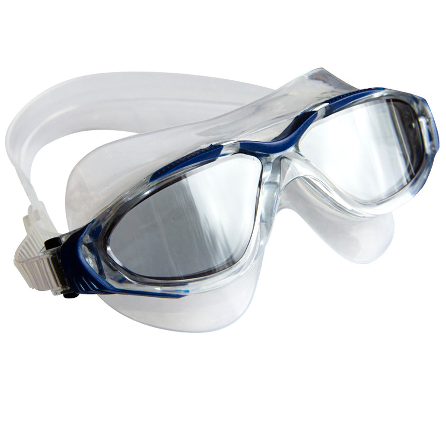 Aqualine Tri-Glide Adults Swimming Mask with Clear Liquid Silicone and Blue frame. Tinted lens.