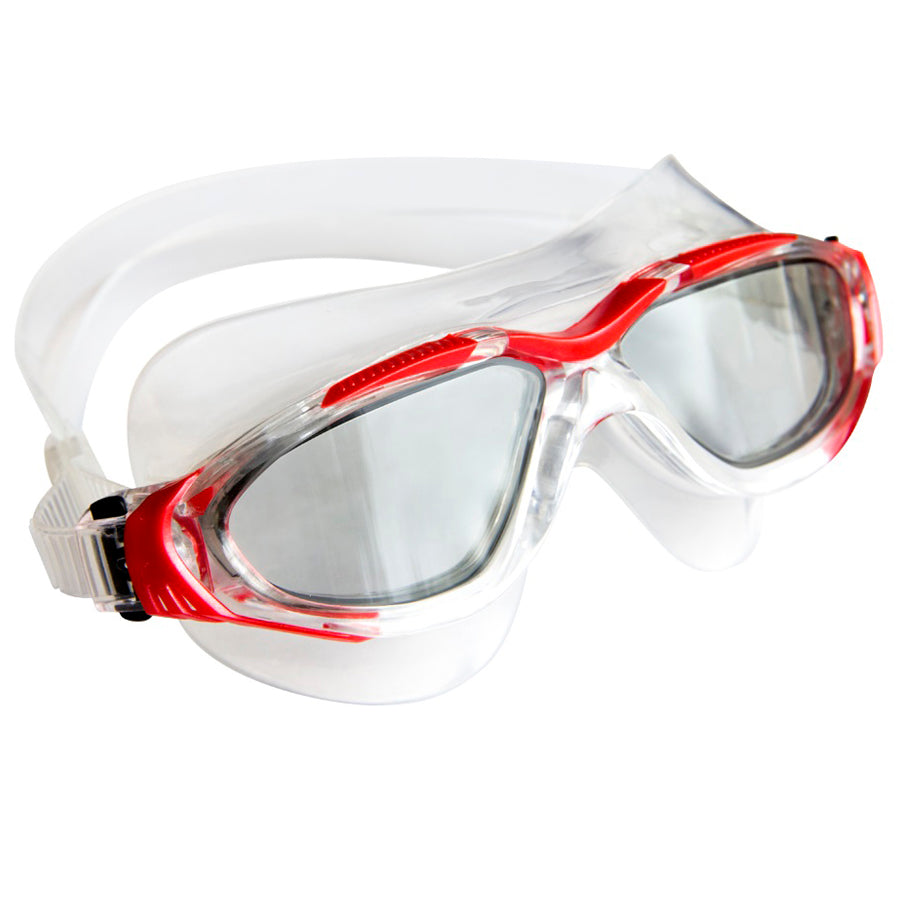 Aqualine Tri-Glide Adults Swimming Mask with Clear Liquid Silicone and Red frame. Tinted lens.
