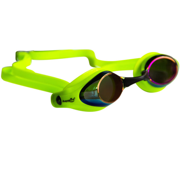 Aqualine Tribute Pro Performance Swimming Goggle Neon Green with Mirrored lens
