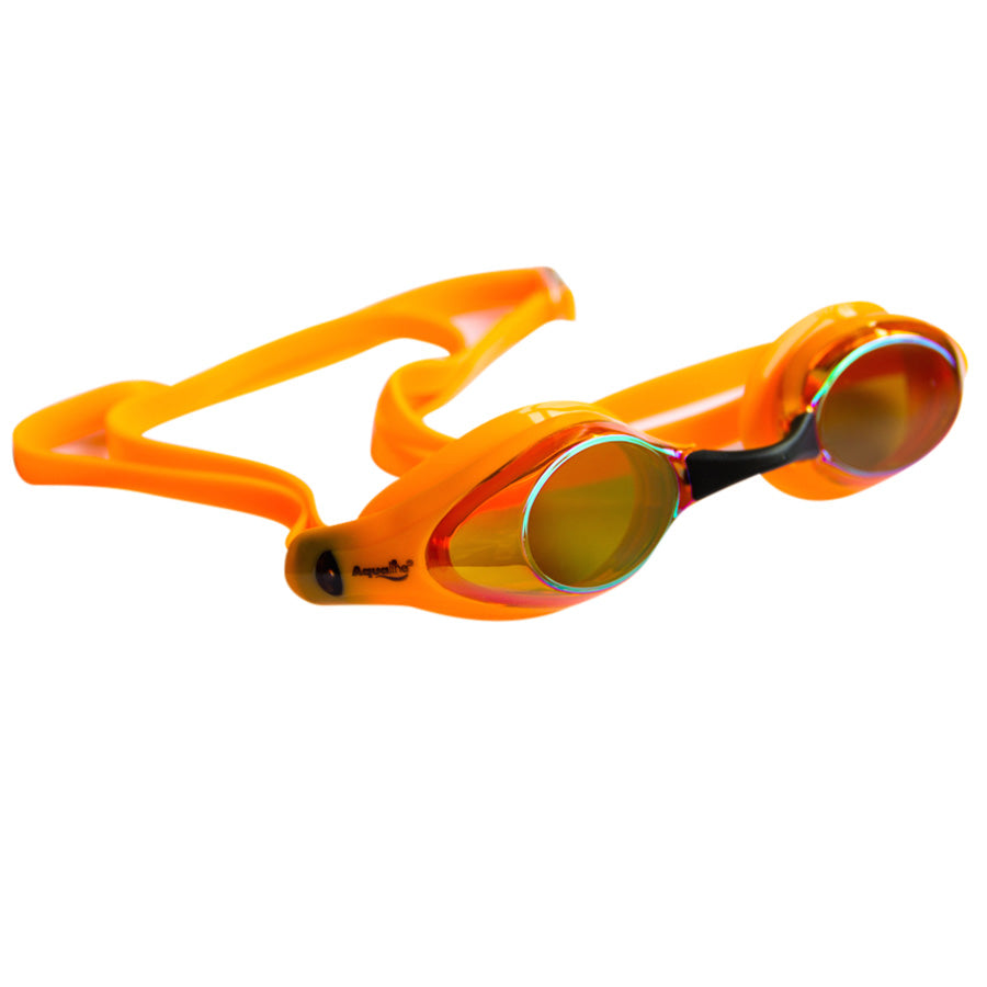 Aqualine Tribute Pro Performance Swimming Goggle Neon Orange with mirrored lens.