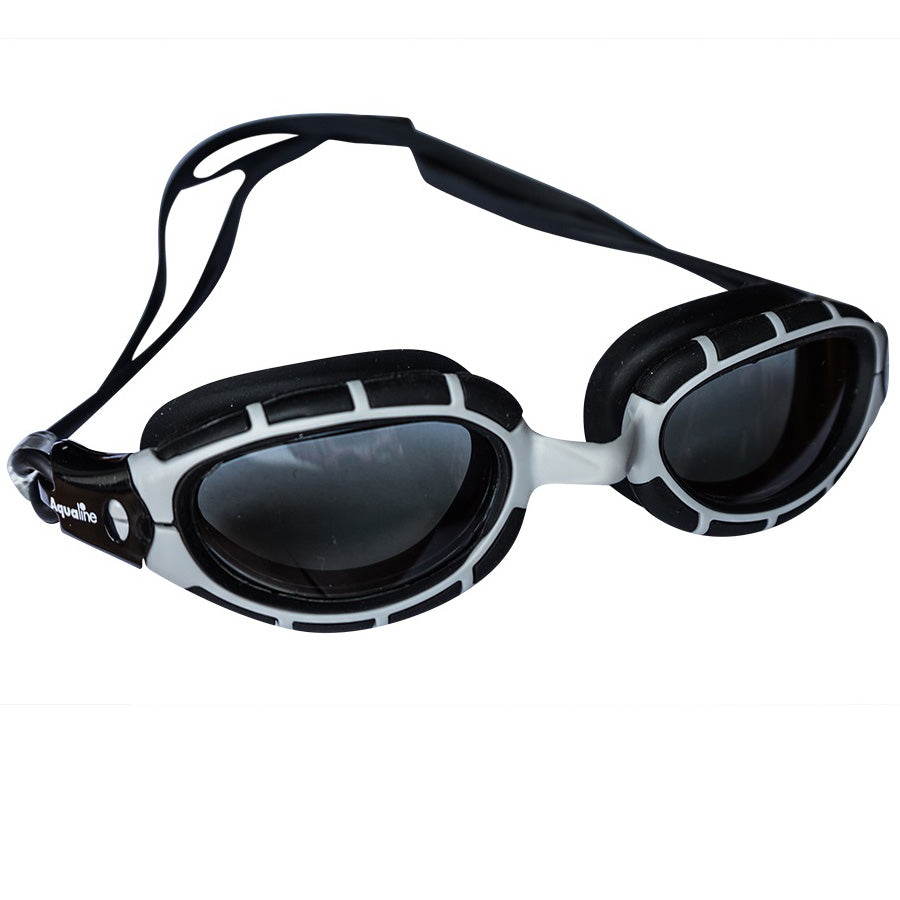 Aqualine Vantage Youth / Adult Swimming Goggle with Grey Frame and Black Silicone.