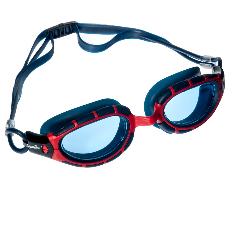 Aqualine Vantage Youth / Adult Swimming Goggle with Red Frame and Navy Silicone.