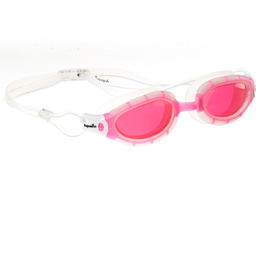 Aqualine Vantage Youth / Adult Swimming Goggle with Pink Frame and White Silicone.