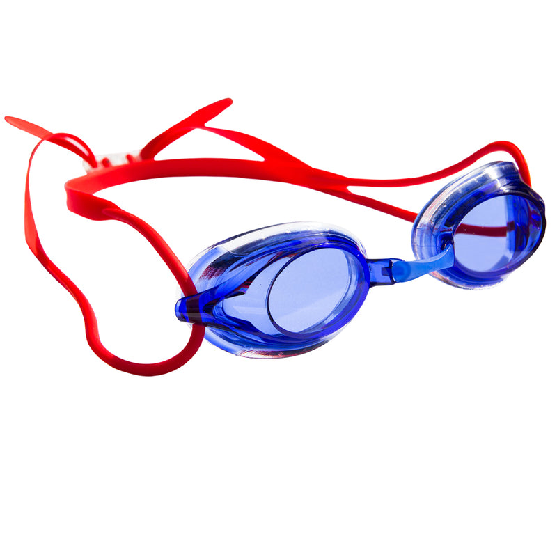 Aqualine Wahoo Childrens Performance Goggle Blue Lens and Red Strap.