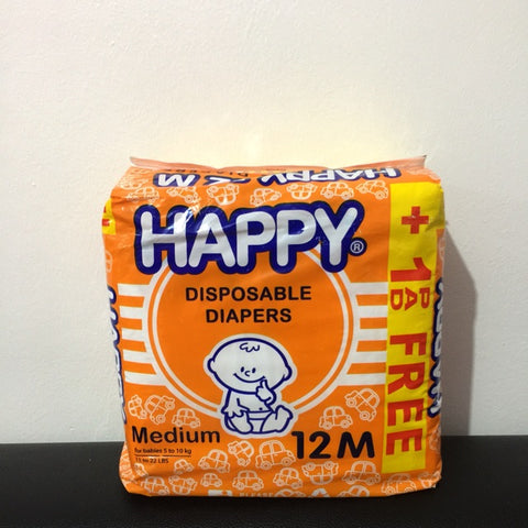 Happy Disposable Diaper Medium 12's