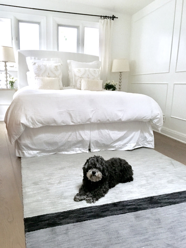 color block rug white bedroom chinpoo