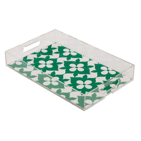 Coco's Flower Lucite Tray - Green
