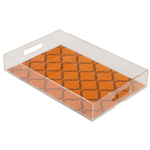 Kip Lucite Tray - Orange & Brown