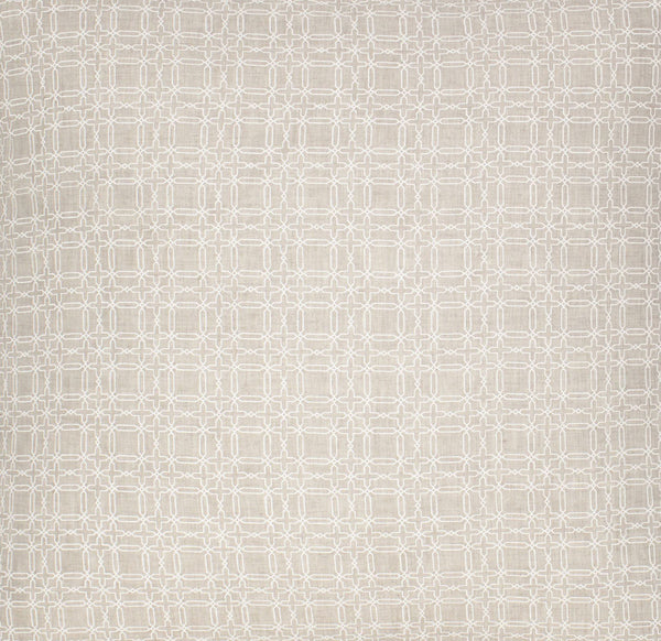 COCOCOZY Plaid Natural Linen - White Fabric Swatch