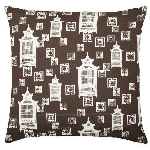 Birdcage Toile Cotton Pillow - Brown