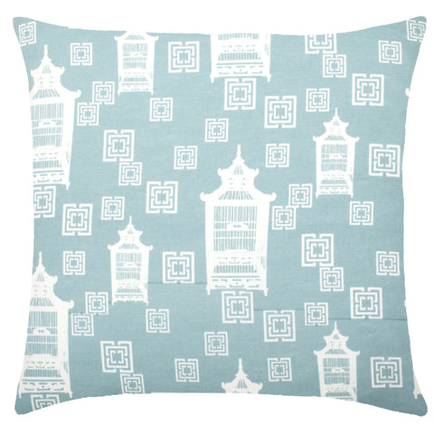 Birdcage Toile Cotton Pillow - Light Blue