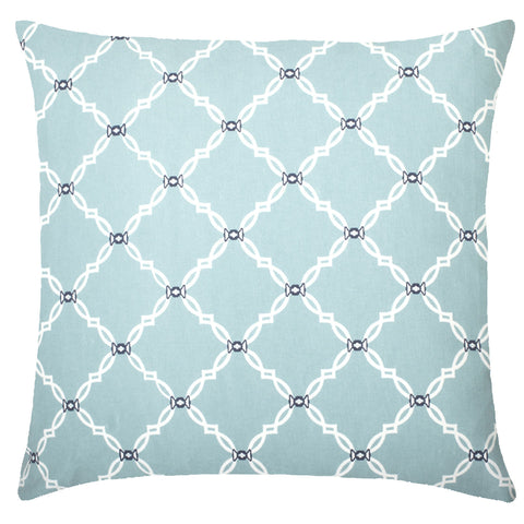 Kip Cotton Pillow - Light Blue & Navy