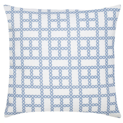 Chain Cotton Pillow - Indigo Blue