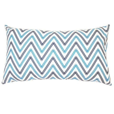 Circle Chevron Cotton Pillow - Blue