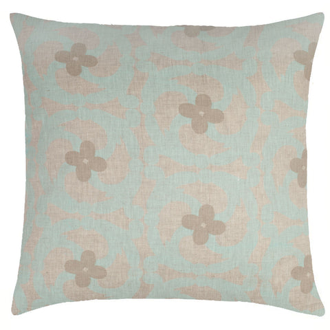 Katie Natural Linen Pillow - Sea Foam