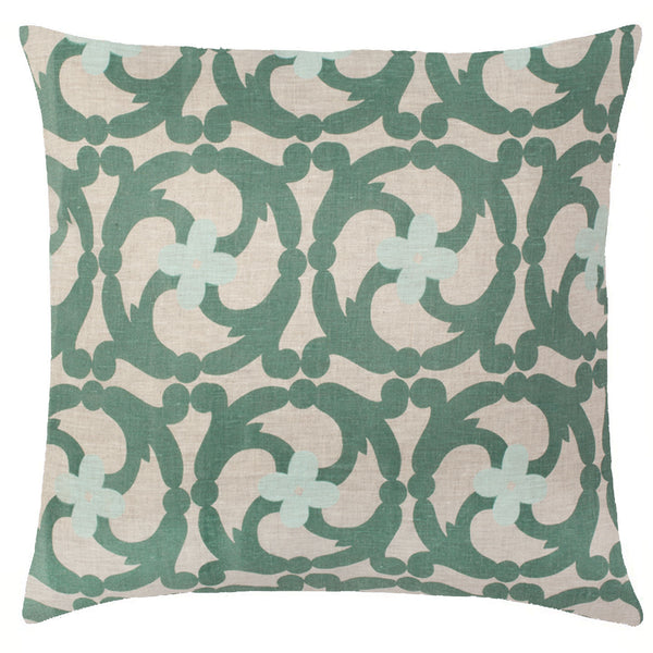 Katie Natural Linen Pillow - Sea Green
