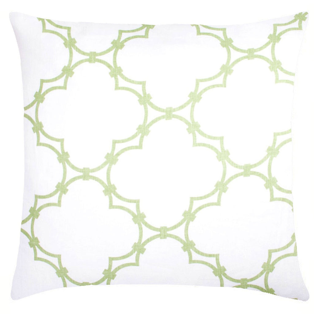 Quatrefoil Linen Pillow - Sage Green