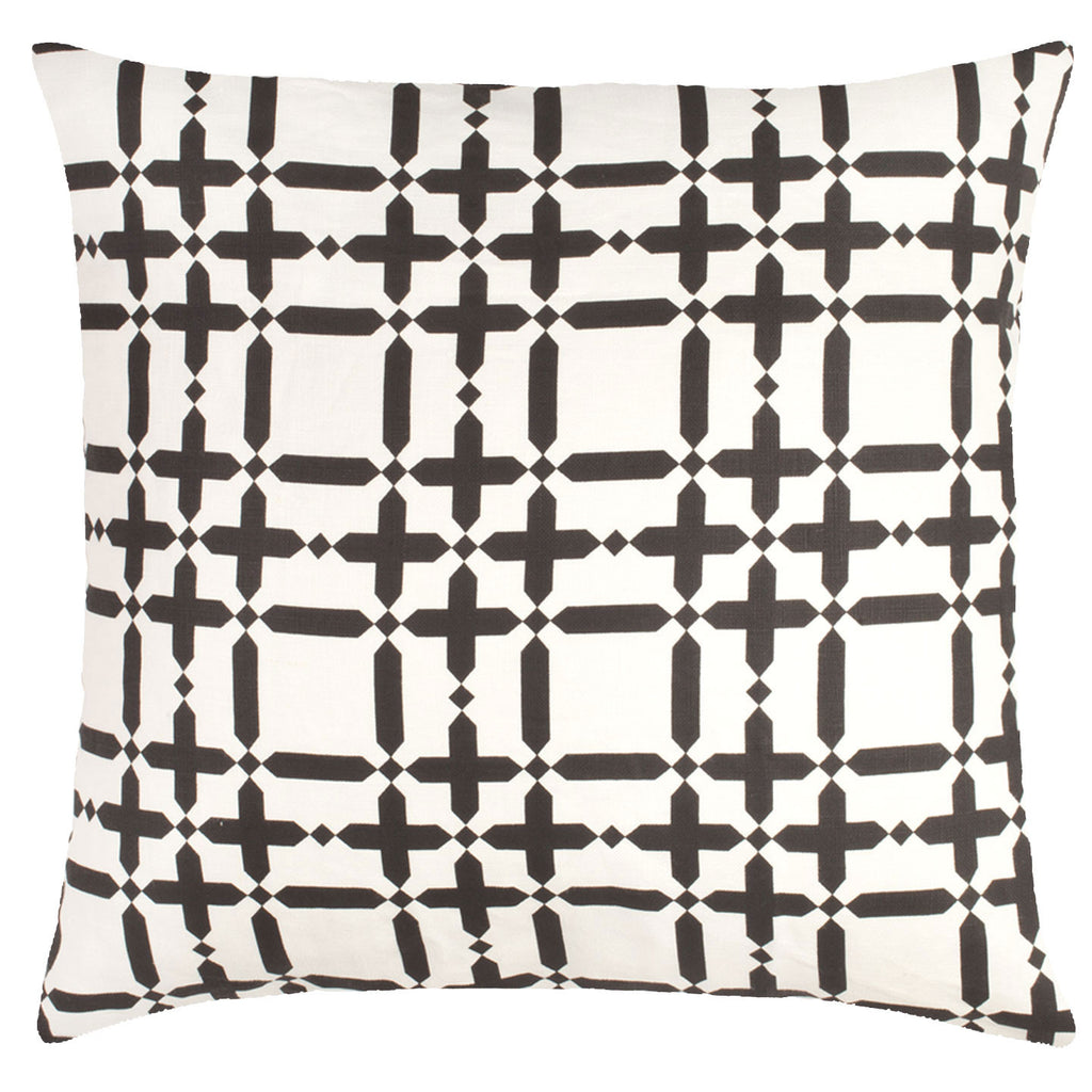 Plaid Solid Linen Pillow - Black