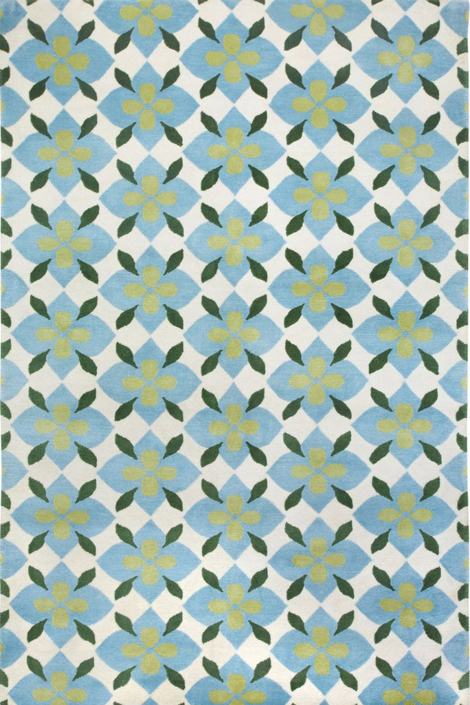 Coco's Flower Rug - Light Blue & Green