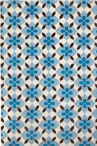 Coco's Flower Rug - Blue & Brown