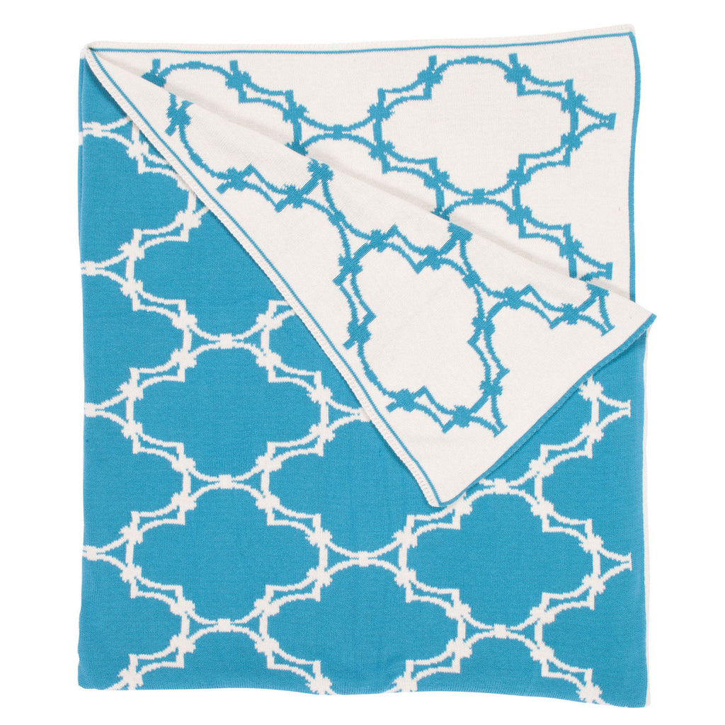 Quatrefoil Throw - Peacock Blue