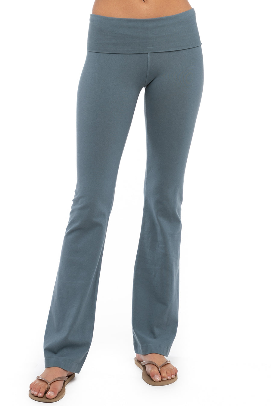 Hard Tail Forever Rolldown Bootleg Flare Pants - Steel Blue - XL