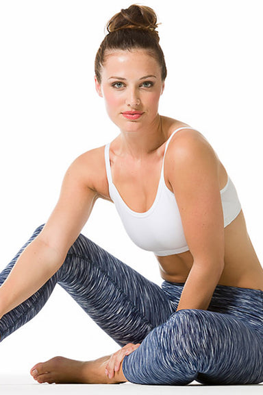 Navy Space Flat Waist Capri Legging