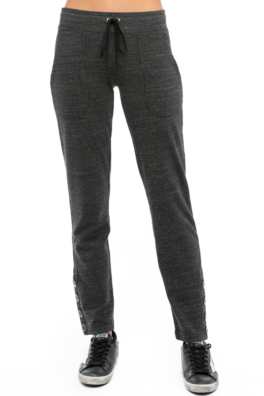 Hard Tail Forever Sueded Side Button Ankle Sweatpant - Black - XS