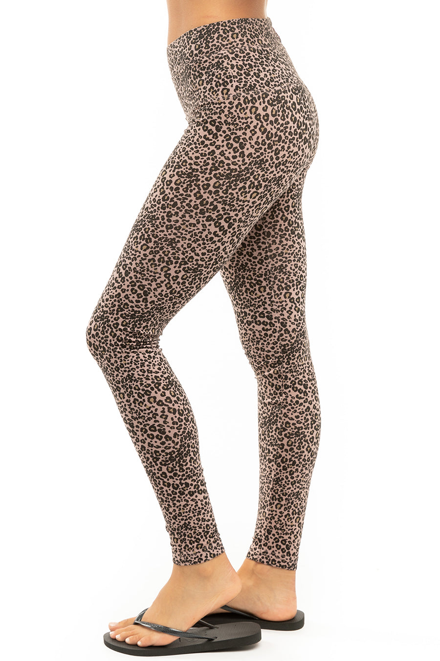 Hard Tail Forever Leopard High Rise Ankle Legging - Mauve - S