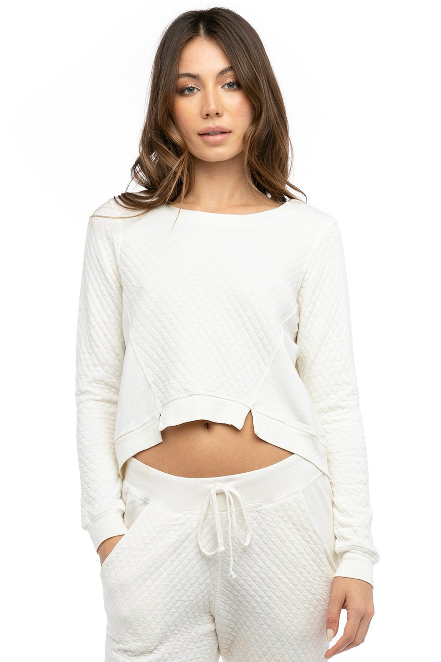 Hard Tail Forever Notch Front Quilted Sweatshirt - Cream - L