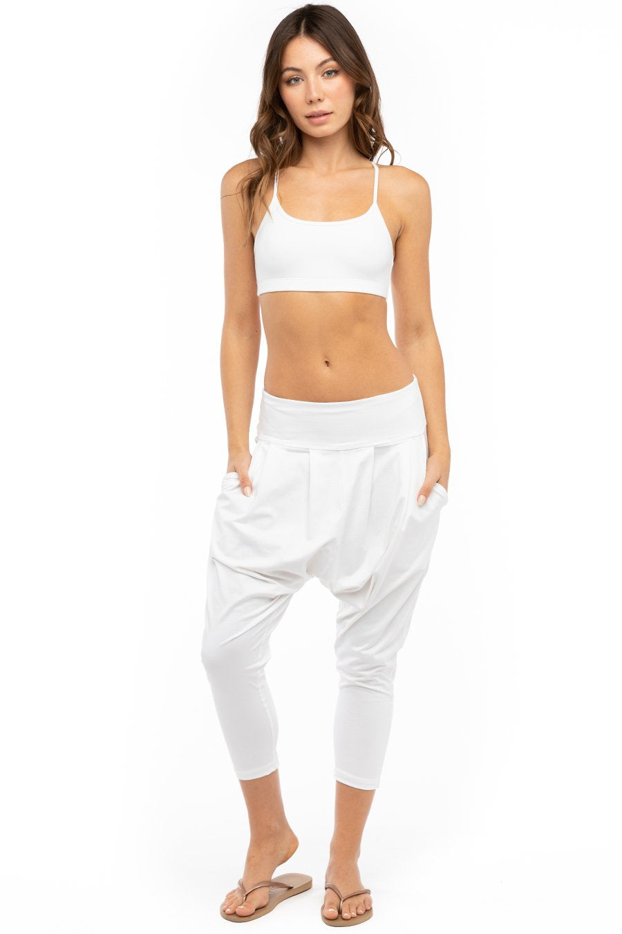 Hard Tail Forever Slouchy Yoga Crop Pants - White - XS