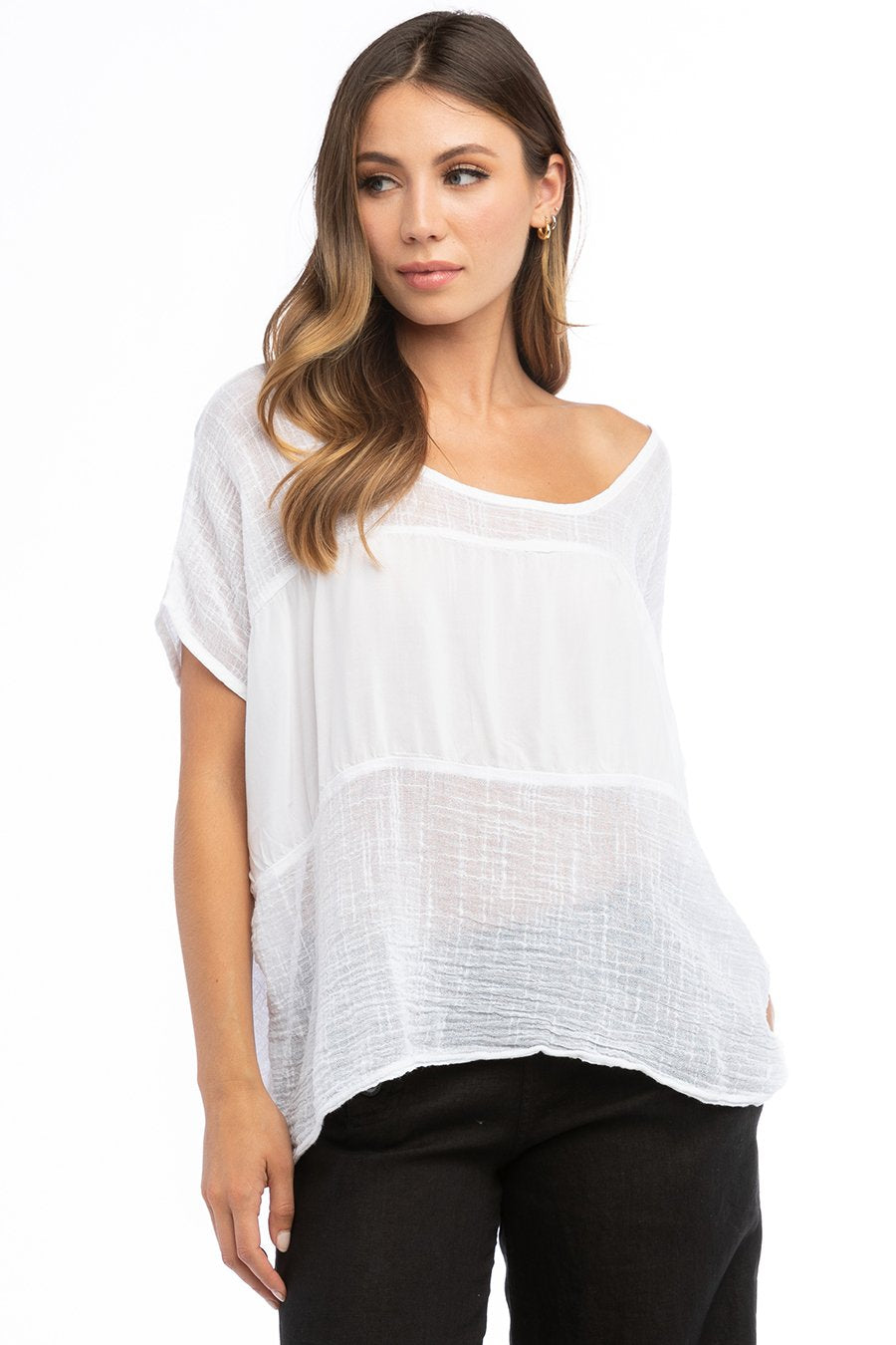 Hard Tail Forever Tango Gauze Slouchy Inset Top - White - XS