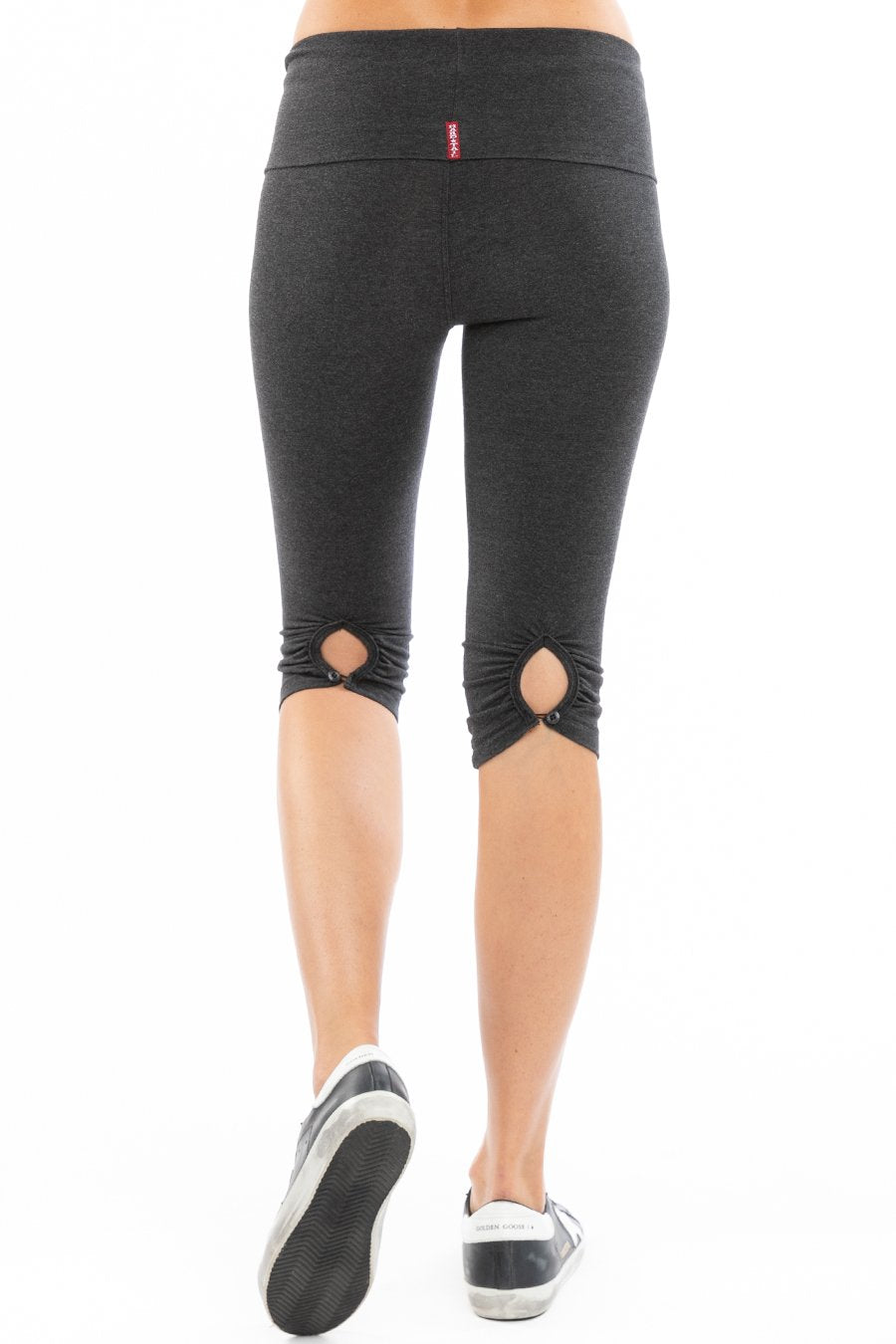 Hard Tail Forever Contour Shirred Button Back Knee Legging - Dark Charcoal Heather Gray - L