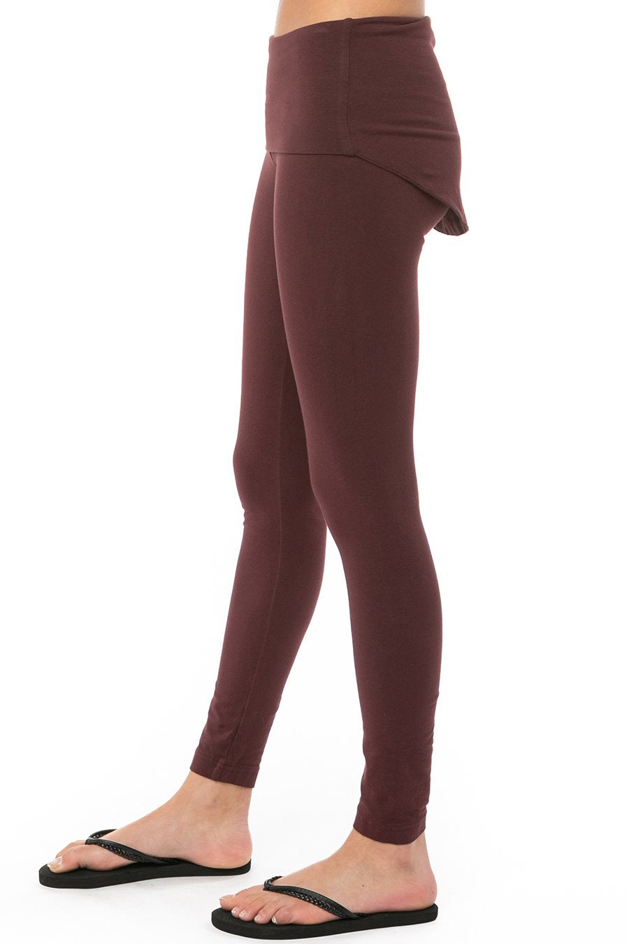 Hard Tail Forever Booty Cover Rolldown Ankle Legging - Red Plum - S