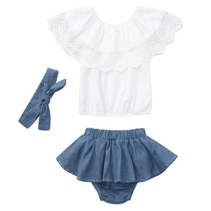 lovebabymammy.com Baby Girls Clothes 2020 Summer New Kid Clothing Newborn Baby Girl Outfit Lace Ruffled Top+Demin Shorts Dress+Headband Colthing Girls Clothing Sets