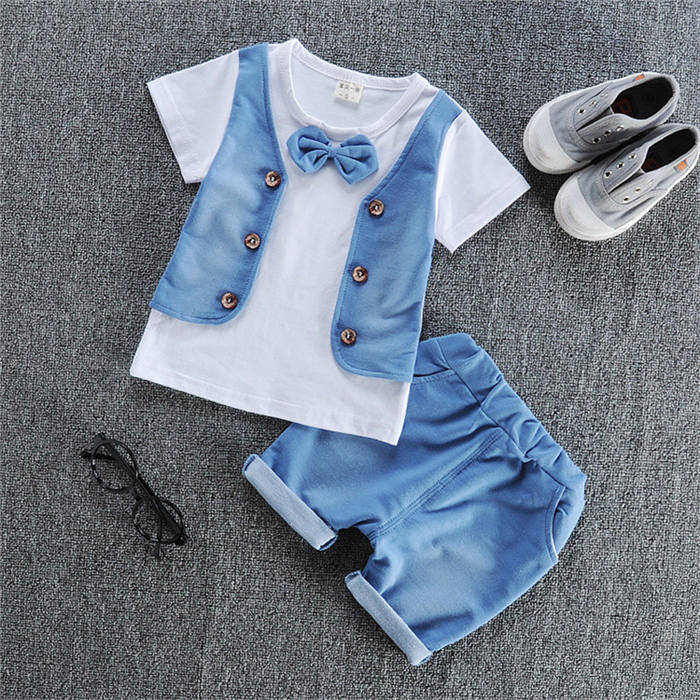 lovebabymammy.com Boys Clothing Sets Summer Baby Boys Clothes Suit Gentleman Style Wedding Shirt +Pants 2pcs Clothes for Boys Summer Set
