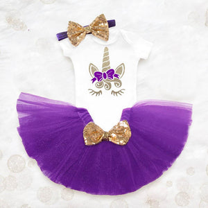 lovebabymammy.com Newborn Kids Baby Girls Clothing Sets Summer 1st Birthday Unicorn Outfits Girl Costume Clothing T-shirt Tutu Dress Headband Sets
