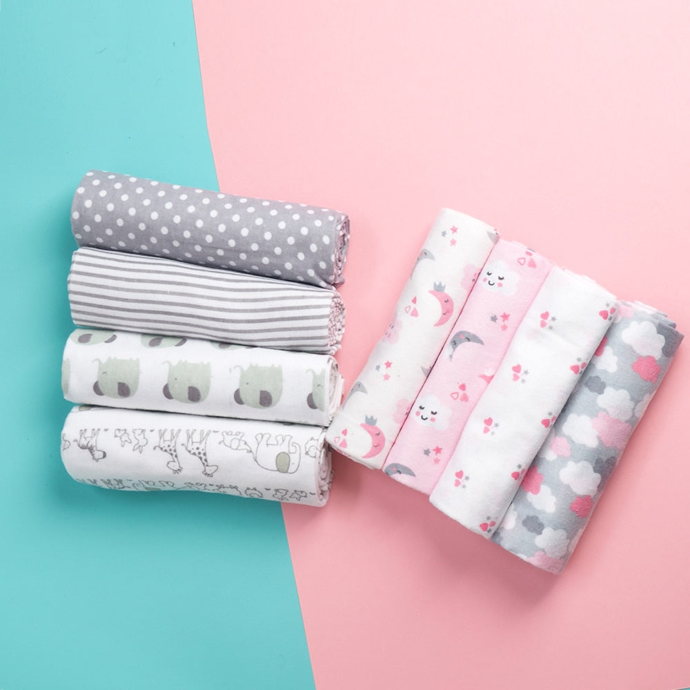 lovebabymammy.com 4 Pcs/Lot 100% Cotton Flannel Receiving Baby Blanket Soft Baby Muslin Diapers Newborn Swaddle Blanket Muslin Swaddle 76*76 CM