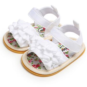 lovebabymammy.com Infant Baby Girl Shoes Toddler Flats Sandals Premium Soft Rubber Sole Anti-Slip Summer Flower Lace Crib First Walker Shoes