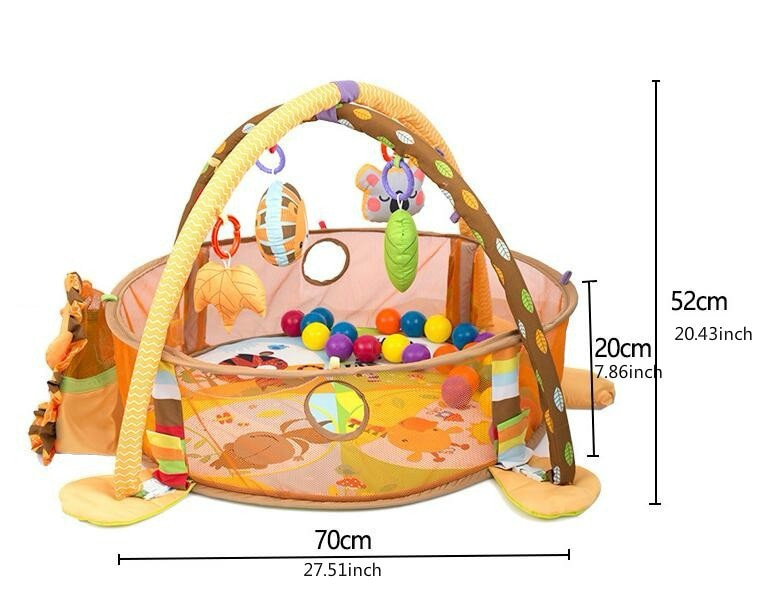 lovebabymammy.com 3 In 1 Baby Play Mat Round Lion Turtle Crawling Blanket Infant Game Pad Play Rug Kids Activity Mat Gym Folding  Tapete Infantil