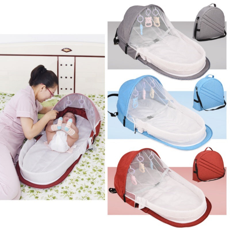 lovebabymammy.com Portable Bed With Toys For Baby Foldable Baby Bed Travel Sun Protection Mosquito Net Breathable Infant Sleeping Basket