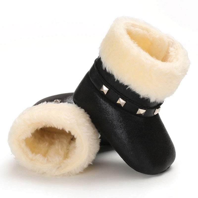 lovebabymammy.com Autumn Winter Children Boots Baby Girl PU Boots Casual Shoes First Walkers Newborn Cute Non-slip Soft Sole Shoe