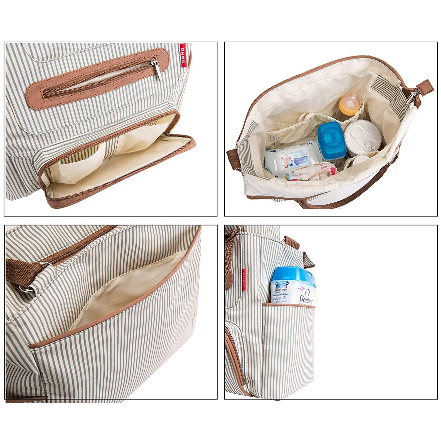 lovebabymammy.com Diaper bag 7 pieces set nappy tote bag large capacity for baby mom dad Travel Bag with Stroller Straps (khaki)