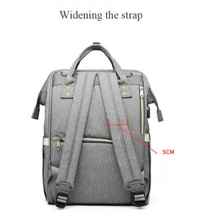 lovebabymammy.com Large Capacity Diaper Bag With USB Interface Mommy Maternity Diaper Bag Solid Zipper Waterproof Diaper Bag Backpack For Stroller
