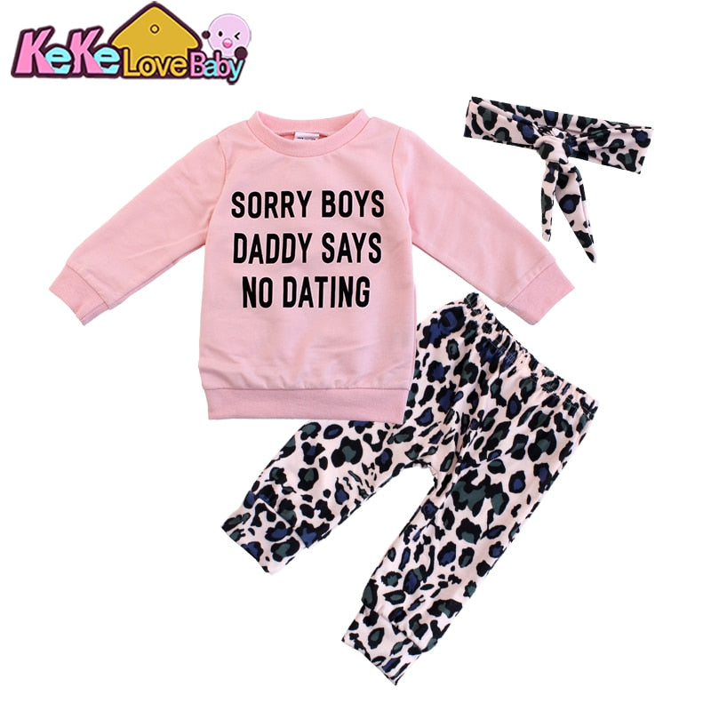 lovebabymammy.com Newborn Infant Baby Girls Clothing Sets Fashion Pink Tops Letter Printed Leopard Print Pants Headband 3PCS Outfit Girls Clothing