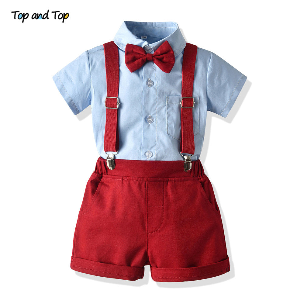 lovebabymammy.com Baby Boys Clothing Sets Infants Newborn Boy Clothes Shorts Sleeve Tops+Overalls 2PCS Outfits Summer Bebes Clothing