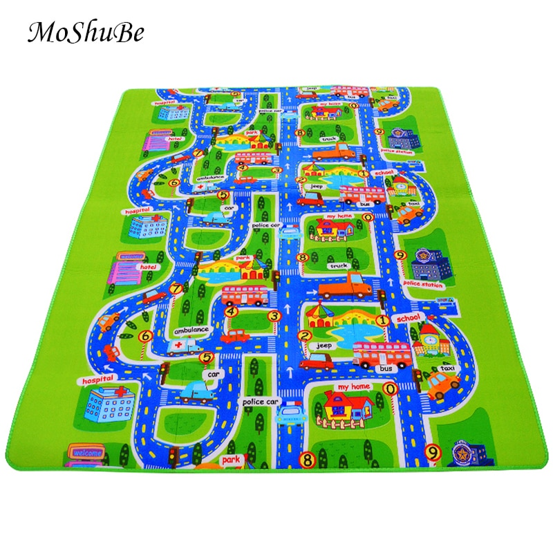 lovebabymammy.com 0.5 cm Thick Town City Traffic Baby Crawling mat EVA Foam Climbing Pad  Green Road Children's Play Mat Carpet for Baby