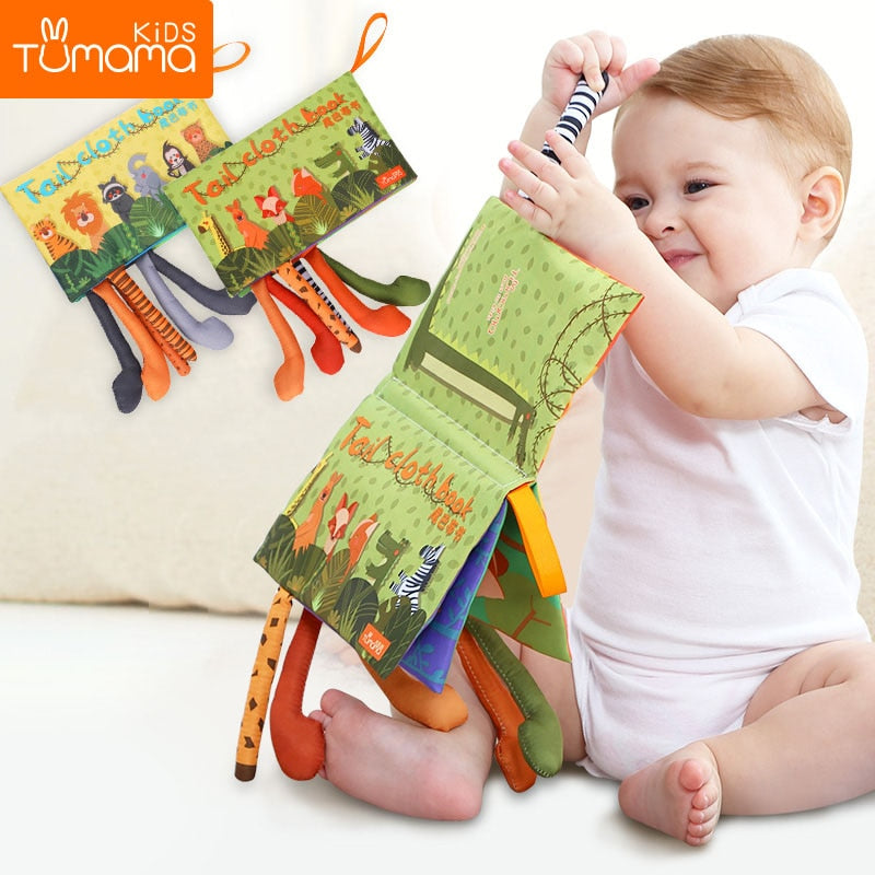 lovebabymammy.com Tumama Baby Rattles Mobiles Toy Soft Animal Tails Cloth Book Newborn Stroller Hanging Toy Baby Early Learning Educational Toys